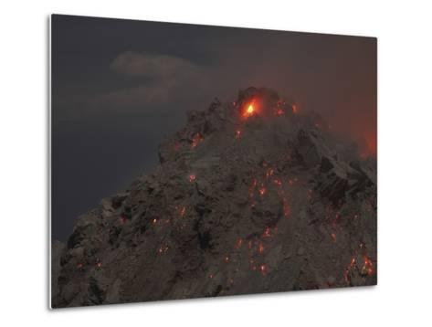 Glowing Summit of Rerombola Lava Dome of Paluweh Volcano-Stocktrek Images-Metal Print