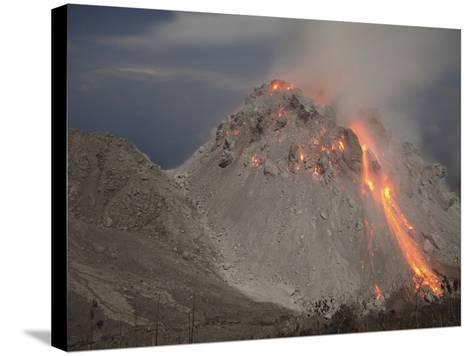 Incandescent Rockfall at Rerombola Lava Dome of Paluweh Volcano-Stocktrek Images-Stretched Canvas Print