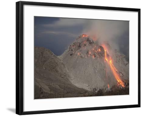Incandescent Rockfall at Rerombola Lava Dome of Paluweh Volcano-Stocktrek Images-Framed Art Print