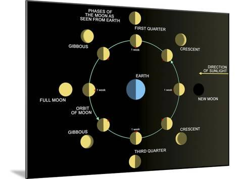 A Diagram Showing the Phases of the Earth's Moon-Stocktrek Images-Mounted Photographic Print