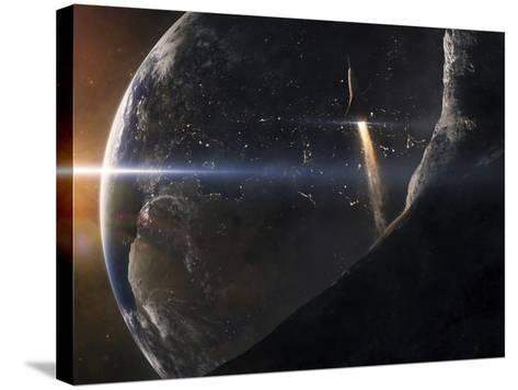 A Space Shuttle Flying Over An Asteroid That Is Passing Close To Earth-Stocktrek Images-Stretched Canvas Print