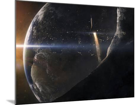 A Space Shuttle Flying Over An Asteroid That Is Passing Close To Earth-Stocktrek Images-Mounted Photographic Print