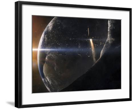 A Space Shuttle Flying Over An Asteroid That Is Passing Close To Earth-Stocktrek Images-Framed Art Print