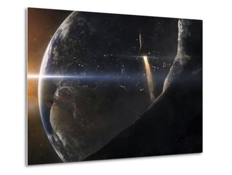 A Space Shuttle Flying Over An Asteroid That Is Passing Close To Earth-Stocktrek Images-Metal Print
