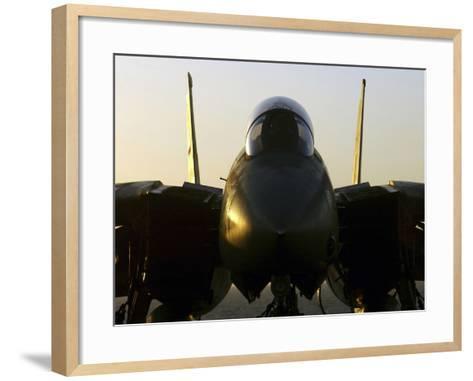 An F-14B Tomcat Sits On the Flight Deck Aboard Aircraft Carrier USS Harry S. Truman-Stocktrek Images-Framed Art Print