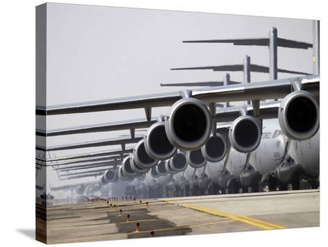 U.S. Air Force C-17 Globemaster III's Lined Up On the Runway Awaiting Takeoff-Stocktrek Images-Stretched Canvas Print