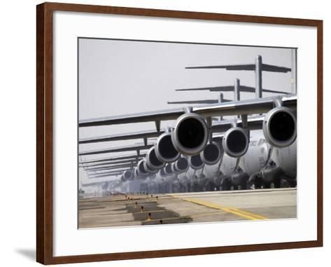 U.S. Air Force C-17 Globemaster III's Lined Up On the Runway Awaiting Takeoff-Stocktrek Images-Framed Art Print