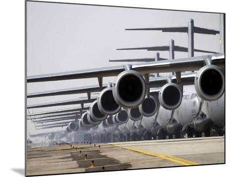 U.S. Air Force C-17 Globemaster III's Lined Up On the Runway Awaiting Takeoff-Stocktrek Images-Mounted Photographic Print