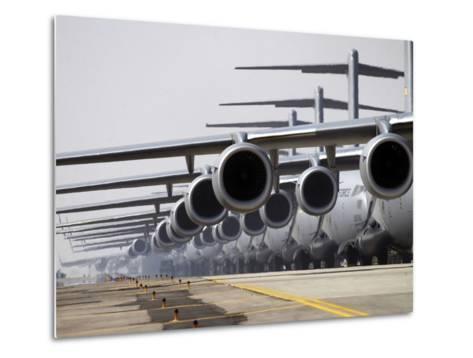 U.S. Air Force C-17 Globemaster III's Lined Up On the Runway Awaiting Takeoff-Stocktrek Images-Metal Print