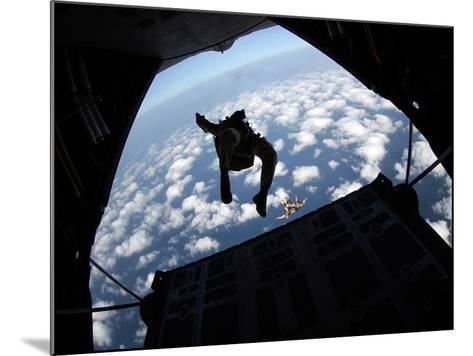 Air Force Members Practice Jumping Out of An Air Force C-130 Hercules-Stocktrek Images-Mounted Photographic Print