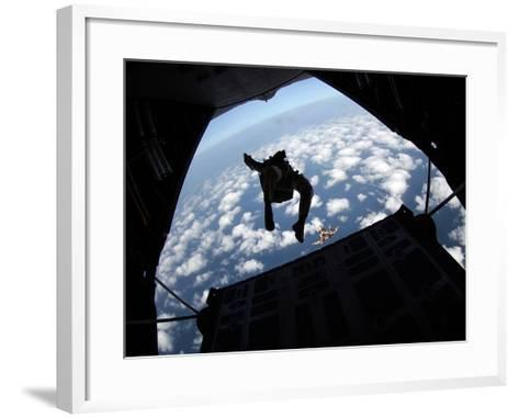 Air Force Members Practice Jumping Out of An Air Force C-130 Hercules-Stocktrek Images-Framed Art Print