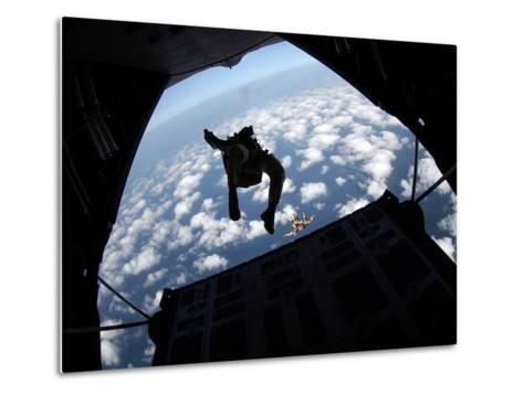 Air Force Members Practice Jumping Out of An Air Force C-130 Hercules-Stocktrek Images-Metal Print