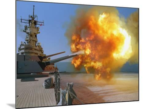 Battleship USS Wisconsin Fires a Round from One of the Mark 7 16-inch/50-caliber Guns-Stocktrek Images-Mounted Photographic Print