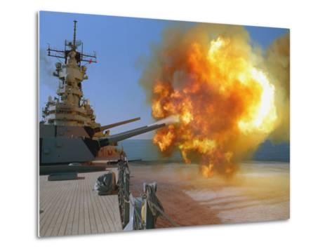 Battleship USS Wisconsin Fires a Round from One of the Mark 7 16-inch/50-caliber Guns-Stocktrek Images-Metal Print
