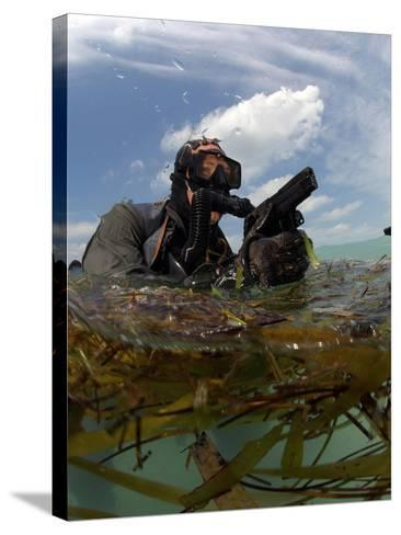 A U.S. Navy SEAL Surfaces with His Weapon Drawn-Stocktrek Images-Stretched Canvas Print