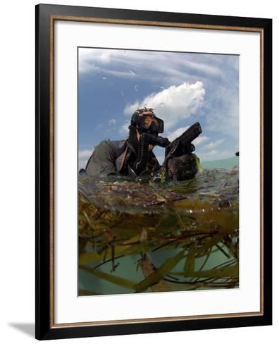 A U.S. Navy SEAL Surfaces with His Weapon Drawn-Stocktrek Images-Framed Art Print