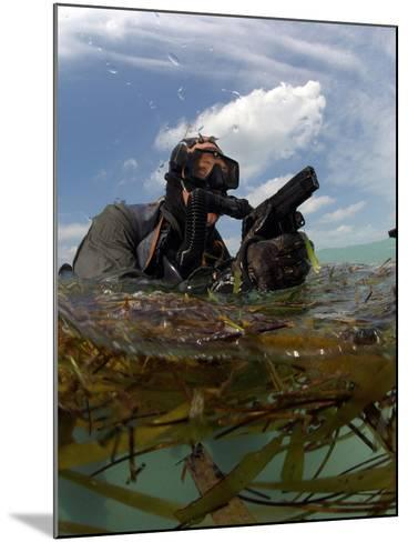 A U.S. Navy SEAL Surfaces with His Weapon Drawn-Stocktrek Images-Mounted Photographic Print