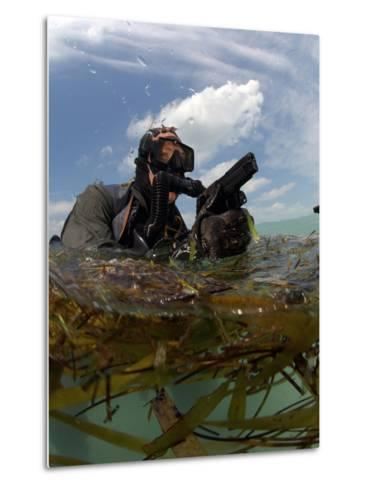 A U.S. Navy SEAL Surfaces with His Weapon Drawn-Stocktrek Images-Metal Print
