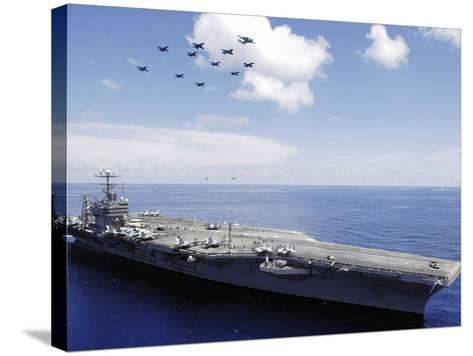 USS Abraham Lincoln And Aircraft Perform a Aerial Demonstration-Stocktrek Images-Stretched Canvas Print