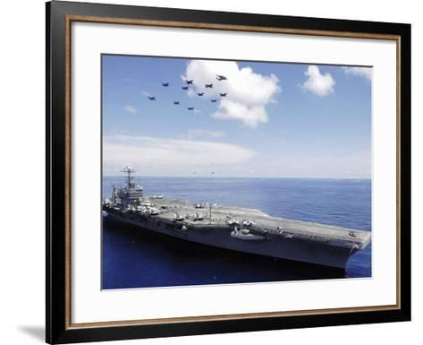 USS Abraham Lincoln And Aircraft Perform a Aerial Demonstration-Stocktrek Images-Framed Art Print