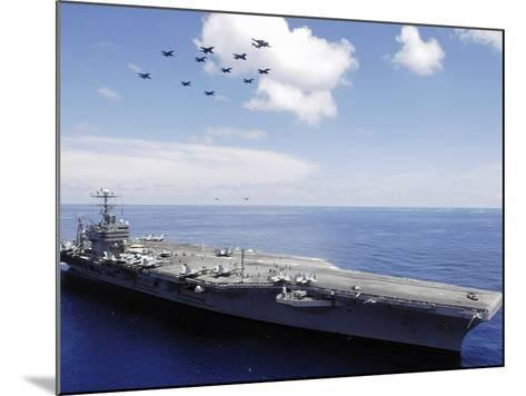 USS Abraham Lincoln And Aircraft Perform a Aerial Demonstration-Stocktrek Images-Mounted Photographic Print