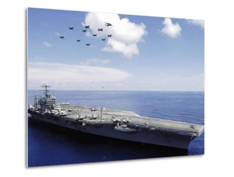 USS Abraham Lincoln And Aircraft Perform a Aerial Demonstration-Stocktrek Images-Metal Print