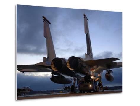 A Weapons Loading Team Attach An AIM-7M Sparrow Missile On An F-15 Eagle-Stocktrek Images-Metal Print