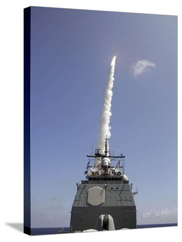 A Standard Missile 2 Is Launched from the Aegis Cruiser USS Lake Erie-Stocktrek Images-Stretched Canvas Print