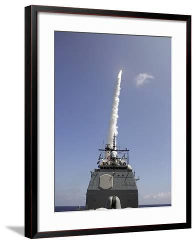 A Standard Missile 2 Is Launched from the Aegis Cruiser USS Lake Erie-Stocktrek Images-Framed Art Print