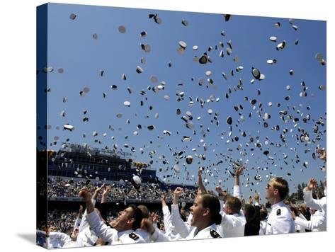 Graduates of the U.S. Naval Academy Throw Their Hats Into the Air-Stocktrek Images-Stretched Canvas Print