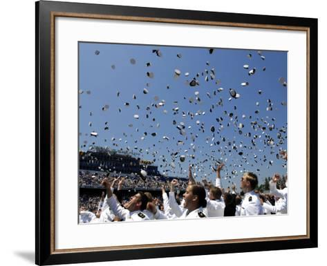 Graduates of the U.S. Naval Academy Throw Their Hats Into the Air-Stocktrek Images-Framed Art Print