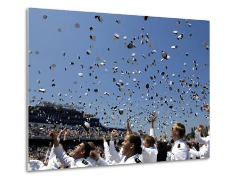 Graduates of the U.S. Naval Academy Throw Their Hats Into the Air-Stocktrek Images-Metal Print