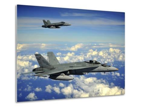 Two Royal Australian Air Force F/A-18 Hornets-Stocktrek Images-Metal Print