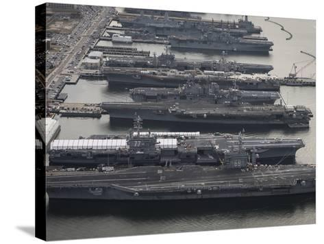 Aircraft Carriers in Port at Naval Station Norfolk, Virginia-Stocktrek Images-Stretched Canvas Print