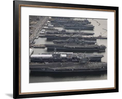 Aircraft Carriers in Port at Naval Station Norfolk, Virginia-Stocktrek Images-Framed Art Print