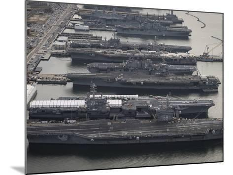 Aircraft Carriers in Port at Naval Station Norfolk, Virginia-Stocktrek Images-Mounted Photographic Print