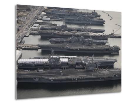 Aircraft Carriers in Port at Naval Station Norfolk, Virginia-Stocktrek Images-Metal Print
