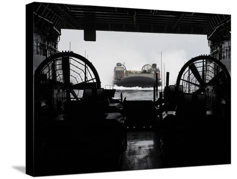 Landing Craft Air Cushion Approaches the Well Deck of USS San Antonio-Stocktrek Images-Stretched Canvas Print
