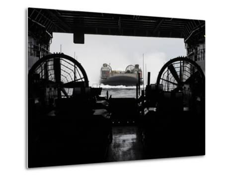 Landing Craft Air Cushion Approaches the Well Deck of USS San Antonio-Stocktrek Images-Metal Print