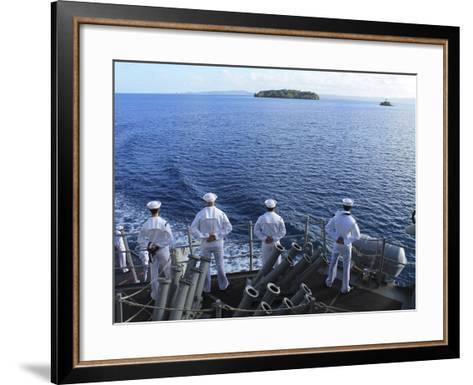 Sailors Man the Rails Aboard Guided-missile Destroyer USS Higgins-Stocktrek Images-Framed Art Print