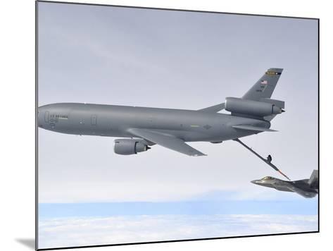 A KC-10 Extender Refuels An F-22 Raptor-Stocktrek Images-Mounted Photographic Print