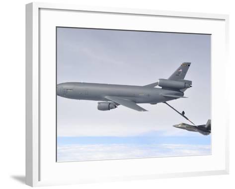 A KC-10 Extender Refuels An F-22 Raptor-Stocktrek Images-Framed Art Print