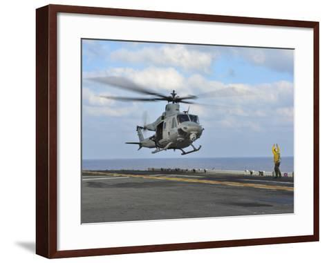 Aviation Boatswain's Mate Directs a UH-1Y Venom-Stocktrek Images-Framed Art Print
