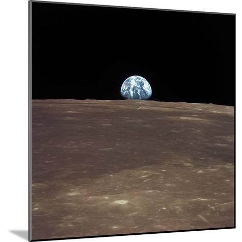 Earth Rising Above the Moon's Horizon-Stocktrek Images-Mounted Photographic Print