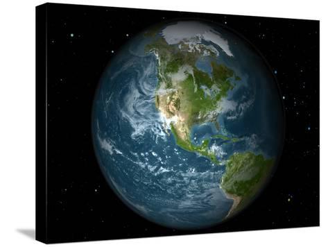 Full Earth View Showing North America-Stocktrek Images-Stretched Canvas Print