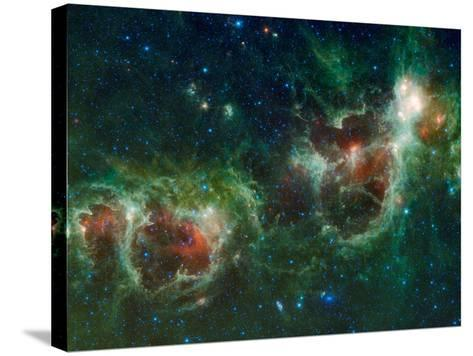 Infrared Mosaic of the Heart And Soul Nebulae in the Constellation Cassiopeia-Stocktrek Images-Stretched Canvas Print