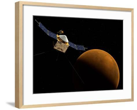 Artist's Concept of NASA's MAVEN Spacecraft-Stocktrek Images-Framed Art Print