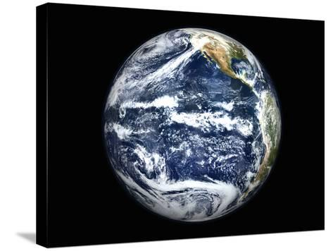 View of Full Earth Centered Over the Pacific Ocean-Stocktrek Images-Stretched Canvas Print