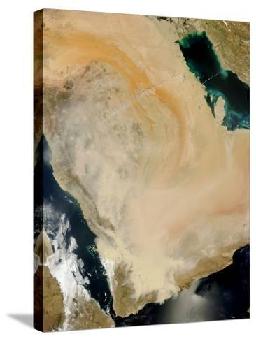 Satellite View of a Dust Storm in Saudi Arabia.-Stocktrek Images-Stretched Canvas Print