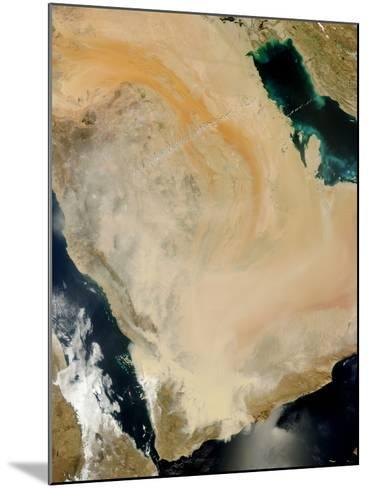 Satellite View of a Dust Storm in Saudi Arabia.-Stocktrek Images-Mounted Photographic Print